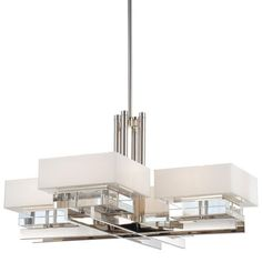 Eden Roe Collection - Eight Light Chandelier - Eight Light Chandelier in Polished Nickel Finish with Mitered Glass White Inside with Eidolon Krystal™ Accents
