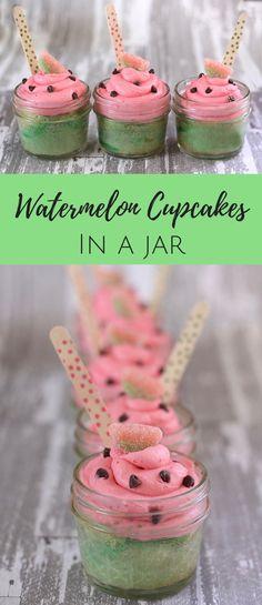 Watermelon Cupcakes - Cupcakes in a Jar