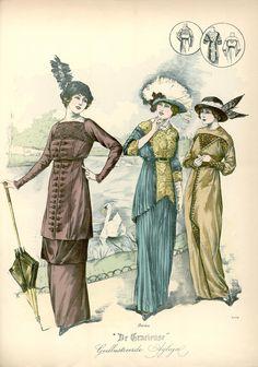[De Gracieuse] No. 1. Wandeltoilet van effen laken. No. 2. Elegant namiddagtoilet. No. 3. Eenvoudige japon voor jonge meisjes (April 1913)