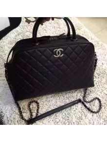 Chanel Black Calfskin Bowling Bag With Shoulder Strap Fall-Winter 2015