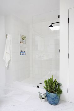 Bathroom with a standing shower, white slate tile, and indoor plants