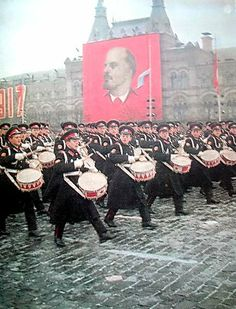 The drum corps of the Moscow Suvorov Military Music School leading the parade (according to tradition) in the 1972 Moscow October Revolution Day Parade.