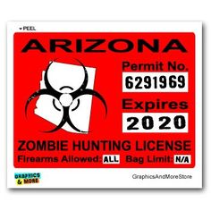 Arizona AZ Zombie Hunting License
