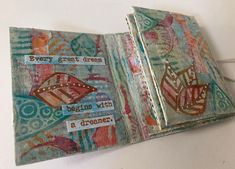 Addicted to Art: Eileen Hull Tiny Book with PaperArtsy Stamps and Paints 28 December, On October 3rd, Umbrella Man, Bird Silhouette, Distressed Painting, Mini Books, Crazy Cats, Art Blog, Altered Art