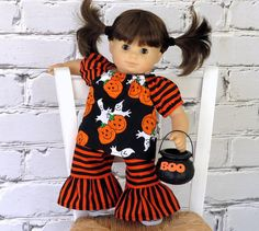 Halloween Top and Ruffle Pants, fits Bitty Baby or Bitty Twin, by SewFunDollClothes