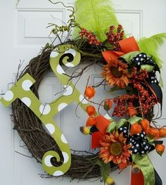 Fall Holiday Monogram Wreath idea