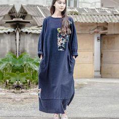 Folded Women Retro Splicing Cotton Dress