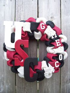 University of South Carolina Gamecocks wreath. $35.00, via Etsy. This might be easy to make, with stephens letters instead (and maybe some pink ;P )