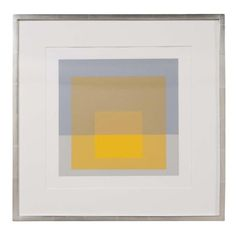 Josef Albers homage to the square from Formulations: Articulation 1972. Silkscreen prints matted in 12 karat white gold frame using all acid free archival materials. #176 of 1000 printed. Printed by Sirocco screen printing, New Haven. Published by Ives-Sillman Inc., New Haven. Printed on Mohawk Superfine Bris.  Circa 1972.  22 W x 22 H