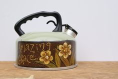 Tea Kettle Country Home Decor Hand Painted Light by Ramshackles