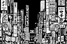 Free coloring page «coloring-japan-tokyo-city». A very dark Coloring page of Tokyo City