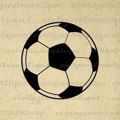 Printable Image Soccer Ball Graphic Download Soccer Digital Illustration Vintage Clip Art for Transfers Printing etc HQ 300dpi No.3968