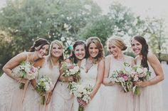 neutral bridesmaids with pastel flowers make a soft but warm palette.  #Nordstromweddings