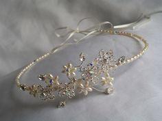 handmade tiara | Handmade Swarovski forehead wedding tiara - Folksy