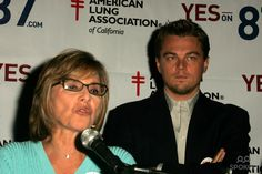 Barbara Boxer and Leonardo Dicaprio at a press conference to support Proposition 87, Westside Democratic Office, Los Angeles, CA 11-05-06