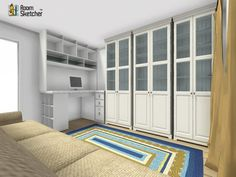 YES OR NO -- Do you have a couch in your office space?  Maximize your workable office space by visualizing in 3D:  http://planner.roomsketcher.com/?ctxt=rs_com  3D floor plan for office space with lots of bookshelf & cubby space designed in RoomSketcher Business Edition by falcon007  #office #officespace #floorplan