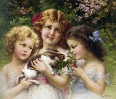 ❤ Vintage Art Poster Print! ☮~ღ~*~*✿⊱╮ レ o √ 乇 !! - Children by Emile Vernon