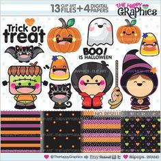 Halloween Grafiken kommerzielle Nutzung Kawaii von TheHappyGraphics