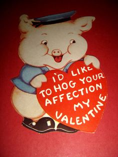 vintage pig valentine flocked piggy bank valentines piggy bank and pigs - Valentine Pig