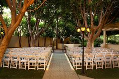A small tree lined #wedding ceremony at the Sheraton Crescent Hotel #SPGDreamWedding #SPGWeddings