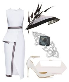 """""""Royal Ascot"""" by claire-hamilton-bristol ❤ liked on Polyvore featuring Lattori, Philip Treacy and Jimmy Choo"""