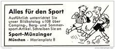 Original-Werbung/ Anzeige 1958 - CARTOON / SPORT MÜNZINGER - MÜNCHEN -  Ca. 60 X 25 Mm - Werbung