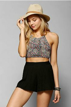 Pins And Needles Smocked Cropped Halter Top