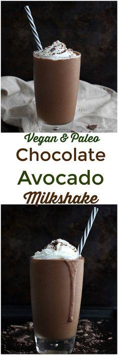 Chocolate Avocado Milkshake - This Chocolate Avocado Milkshake is a thick, creamy shake made from simple, healthy ingredients. Dairy-free, paleo and vegan, this shake tastes just like the real thing!