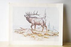Elk Giclee Print - Artwork, Poster, Nature Art, Animal Print, Moose, Wildlife, Cark Bronson, Vintage