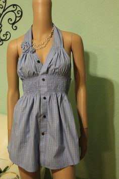 This girl is sooo creative! She made this dress out of one of her husbands dress shirts! If only I could sew!