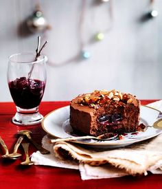 Australian Gourmet Traveller recipe for Chocolate shortbread and truffle cakes with sour cherry jam
