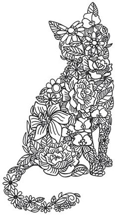 Floral Feline | Urban Threads: Unique and Awesome Embroidery Designs Cat Coloring Page, Adult Coloring Book Pages, Animal Coloring Pages, Colouring Pages, Coloring Books, Diy Embroidery, Embroidery Patterns, Machine Embroidery, Zentangle Drawings