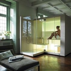 This is relaxing after a long day! Contemporary design shower and sauna unit. Duravit Inipi Sauna from C. Contemporary Saunas, Modern Saunas, Contemporary Design, Sauna Shower, Shower Cabin, Bad Inspiration, Bathroom Inspiration, Design Sauna, At Home Spa