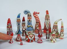 Santa Claus Miniatures Handmade and Hand-painted by Lisa Scherer