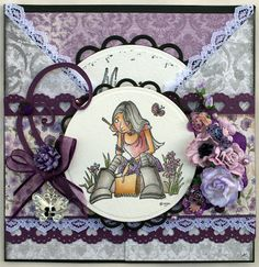 Annes lille hobbykrok: Stampavie, Mo Manning, Girl card, Distress Ink