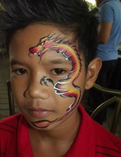 One stroke dragon face painting for boys