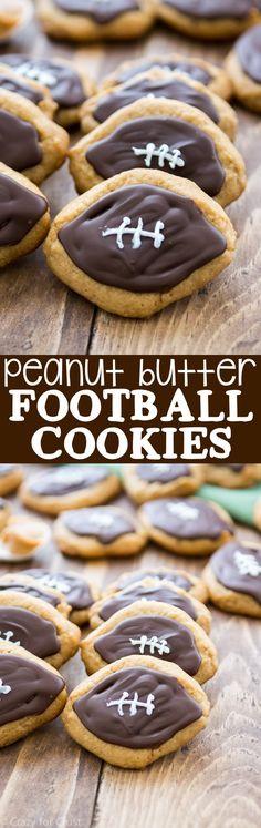 Peanut Butter Football Cookies Football Treats, Football Cookies, Football Food, Football Parties, Tailgate Parties, College Football, Football Desserts, Super Bowl Essen, Cookie Recipes