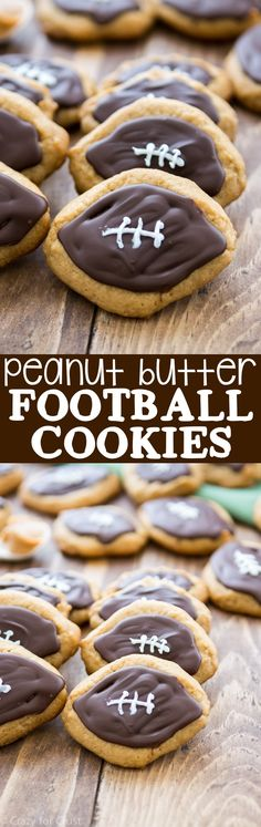 We love watching football with COOKIES! Peanut Butter shaped football cookies topped with chocolate are an easy and fast treat for football lovers!