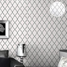 Classic-Contemporary-Textured-Geometric-Trellis-Wallpaper-Black-on-White