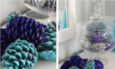 11 super pretty Christmas glitter crafts for kids including snowmen, Christmas tree cards, DIY baubles, candle jars & pipe cleaner icicles! Hanukkah Decorations, Pine Cone Decorations, Homemade Christmas Decorations, Christmas Tree Cards, Blue Christmas, Christmas Crafts, Christmas Ornaments, Christmas Glitter, Pinecone Ornaments