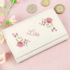 Flowers leather coin purse wallet Personalise with name Flower girls Mothers day notes purse coin holder sister daughter nanna gift idea 3rd Wedding Anniversary, Thank You Presents, Coin Purse Wallet, Cream Roses, Best Christmas Gifts, Christmas 2016, Practical Gifts, Bride Gifts, Groom Gifts
