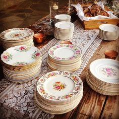 Vintage china, farm wood table, a drop of lace and bam!!