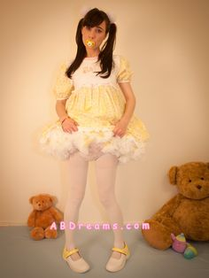 Adult-baby girl apple with her yellow petticoat thick abdreams.com abdl diaper petitcoat dress sissy