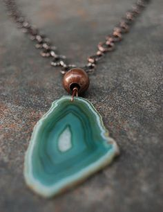 Long green agate slice necklace by Gypsy Sol Designs