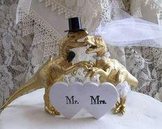 Dinosaur Wedding Cake Topper T-Rex Cake by MrandMrsCakeToppers
