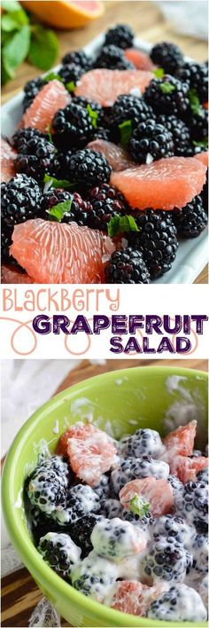 Start your day with this Easy Fresh Fruit Salad Recipe. A simple combination of sweet blackberries, tangy grapefruit, fresh mint and creamy Greek yogurt. The perfect healthy breakfast, snack or side dish! (simple meals for two greek yogurt) Fresh Fruit Salad, Fruit Salad Recipes, Fruit Salads, Fruit Snacks, Side Salad Recipes, Jello Salads, Eat Fruit, Healthy Snacks, Healthy Recipes
