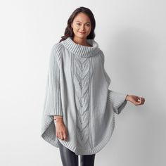 Free Knitting Pattern for a Batwing Swoncho Free Knitting Patterns For Women, Beginner Knitting Patterns, Poncho Knitting Patterns, Christmas Knitting Patterns, Knitted Poncho, Lace Knitting, Knitted Scarves, Knit Shawls, Knit Sweaters