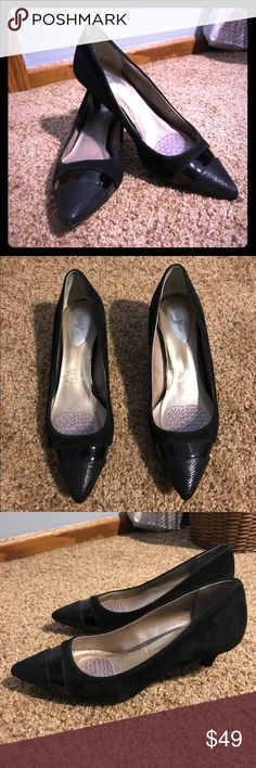 Beautiful Anne Klein black kitten heels Worn once, these shoes are sexy, flattering, and ready to win the day! Open to reasonable offers! Anne Klein Shoes Heels