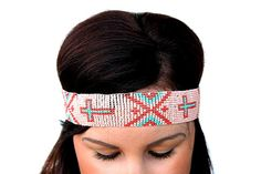 Pink and Turquoise Cross Seed Bead Headband on Etsy, $12.99