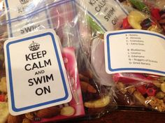 """Fun swim team treats for meet!  Made """"race Blend"""" trail mix with the ingredients spelling it out! They were a hit with the kids."""